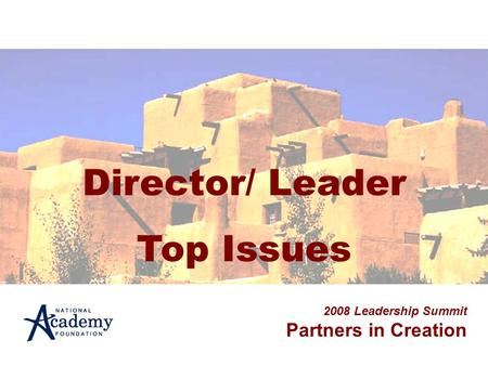 Director/ Leader Top Issues 2008 Leadership Summit Partners in Creation.