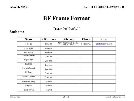 Doc.: IEEE 802.11-12/0373r0 Submission March 2012 Ron Porat, Broadcom BF Frame Format Date: 2012-03-12 Authors: Slide 1.