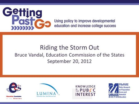 Riding the Storm Out Bruce Vandal, Education Commission of the States September 20, 2012.