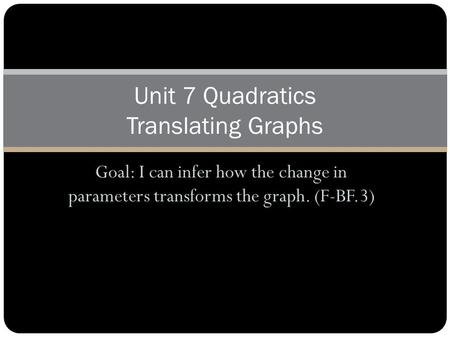 Goal: I can infer how the change in parameters transforms the graph. (F-BF.3) Unit 7 Quadratics Translating Graphs.