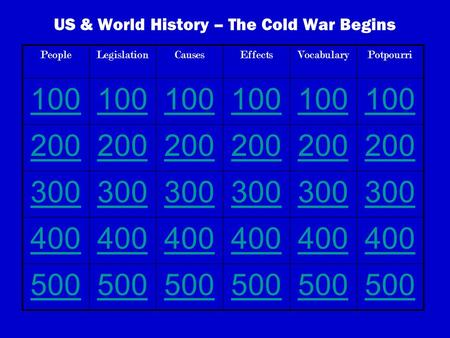 US & World History – The Cold War Begins PeopleLegislationCausesEffectsVocabularyPotpourri 100 200 300 400 500.