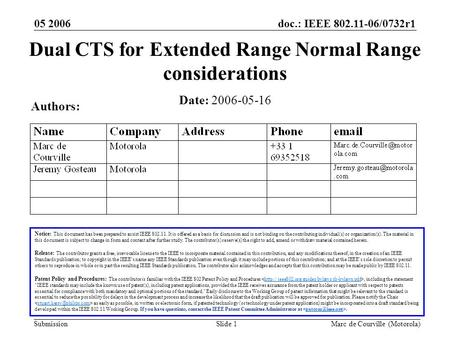Doc.: IEEE 802.11-06/0732r1 Submission 05 2006 Marc de Courville (Motorola)Slide 1 Dual CTS for Extended Range Normal Range considerations Notice: This.