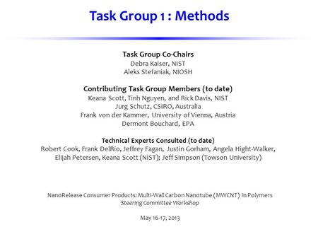 Task Group Co-Chairs Debra Kaiser, NIST Aleks Stefaniak, NIOSH Contributing Task Group Members (to date) Keana Scott, Tinh Nguyen, and Rick Davis, NIST.