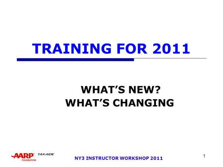 1 NY3 INSTRUCTOR WORKSHOP 2011 TRAINING FOR 2011 WHAT'S NEW? WHAT'S CHANGING.