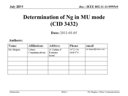 Doc.: IEEE 802.11-11/0995r0 Submission July 2011 Nir Shapira, Celeno Communications Determination of Ng in MU mode (CID 3432) Date: 2011-01-05 Authors: