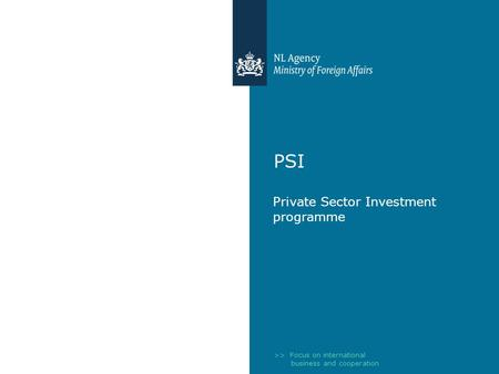 >> Focus on international business and cooperation PSI Private Sector Investment programme.