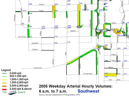 2005 Weekday Arterial Hourly Volumes: 6 a.m. to 7 a.m. Southwest Source: Nevada Department of Transportation, RTC Legend 0-500 vph 500-1,000 vph 1,000-1,500.
