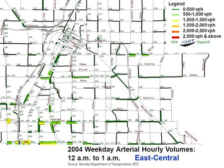 2004 Weekday Arterial Hourly Volumes: 12 a.m. to 1 a.m. East-Central Source: Nevada Department of Transportation, RTC Legend 0-500 vph 500-1,000 vph 1,000-1,500.