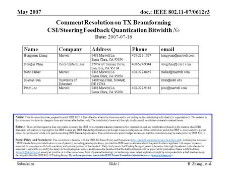 Doc.: IEEE 802.11-07/0612r3 Submission May 2007 H. Zhang., et al.Slide 1 Comment Resolution on TX Beamforming CSI/Steering Feedback Quantization Bitwidth.