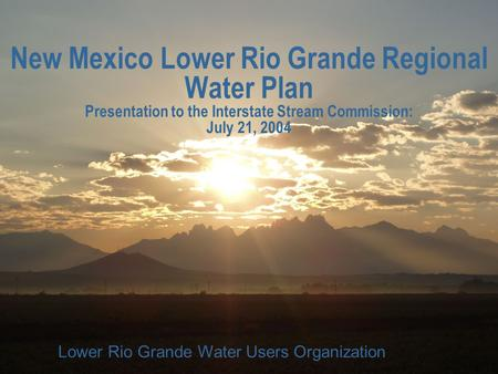 LRGWUO New Mexico Lower Rio Grande Regional Water Plan Presentation to the Interstate Stream Commission: July 21, 2004 Lower Rio Grande Water Users Organization.
