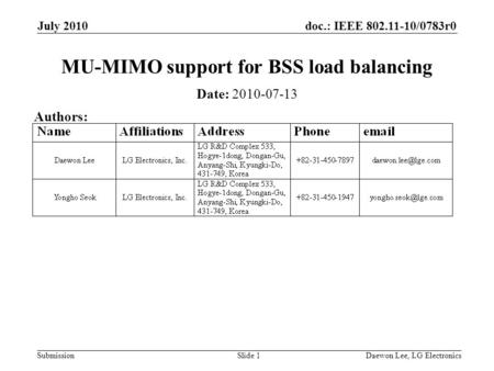 Doc.: IEEE 802.11-10/0783r0 Submission July 2010 Daewon Lee, LG ElectronicsSlide 1 MU-MIMO support for BSS load balancing Date: 2010-07-13 Authors: