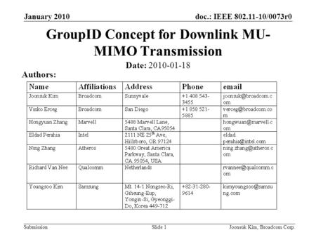 Doc.: IEEE 802.11-10/0073r0 Submission January 2010 Joonsuk Kim, Broadcom Corp.Slide 1 GroupID Concept for Downlink MU- MIMO Transmission Date: 2010-01-18.