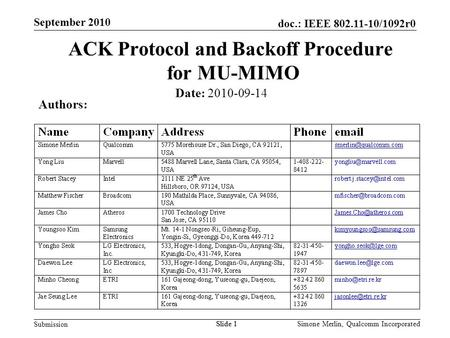 Slide 1 doc.: IEEE 802.11-10/1092r0 Submission Simone Merlin, Qualcomm Incorporated September 2010 Slide 1 ACK Protocol and Backoff Procedure for MU-MIMO.