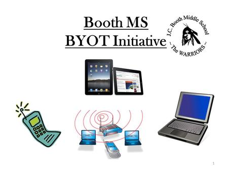 Booth MS BYOT Initiative 1. BMS is one of two schools in Fayette County that piloted BYOT in the Spring of 2012. School district initiated this. All schools.