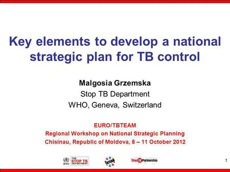 Key elements to develop a national strategic plan for TB control Malgosia Grzemska Stop TB Department WHO, Geneva, Switzerland EURO/TBTEAM Regional Workshop.