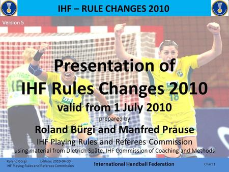 IHF – RULE CHANGES 2010 Presentation of IHF Rules Changes 2010 valid from 1 July 2010 prepared by Roland Bürgi and Manfred Prause IHF Playing Rules and.