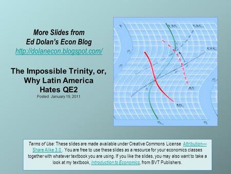 More Slides from Ed Dolan's Econ Blog  The Impossible Trinity, or, Why Latin America Hates QE2 Posted January 19, 2011