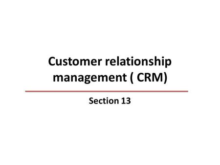 Customer relationship management ( CRM) Section 13.