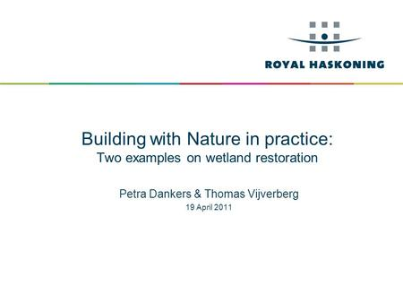Building with Nature in practice: Two examples on wetland restoration Petra Dankers & Thomas Vijverberg 19 April 2011.