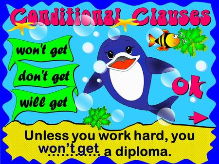 Unless you work hard, you ………… a diploma. won't get.