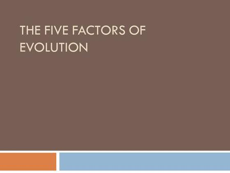 The Five Factors of Evolution