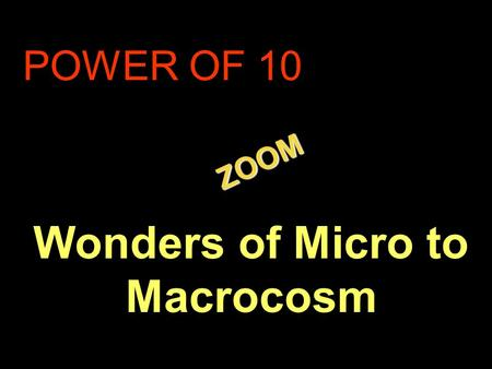 . ZOOM ZOOM POWER OF 10 Wonders of Micro to Macrocosm.