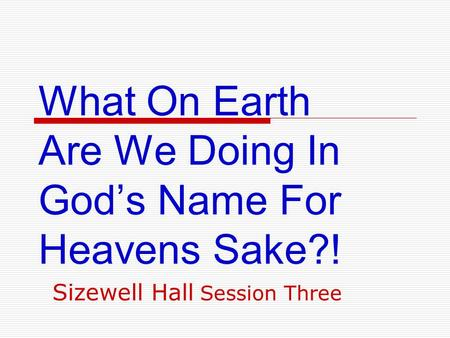 What On Earth Are We Doing In God's Name For Heavens Sake?! Sizewell Hall Session Three.