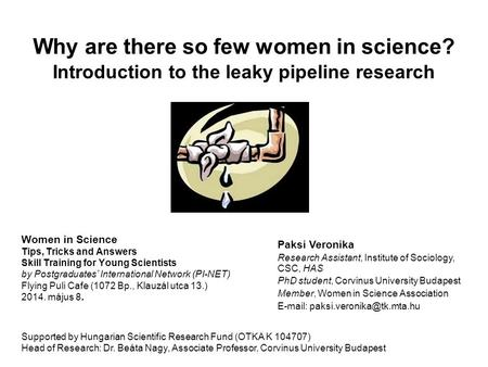 Why are there so few women in science? Introduction to the leaky pipeline research Women in Science Tips, Tricks and Answers Skill Training for Young Scientists.