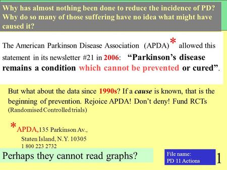 "1 The American Parkinson Disease Association (APDA) * allowed this statement in its newsletter #21 in 2006: ""Parkinson's disease remains a condition which."
