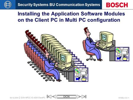 Security Systems BU Communication SystemsDCN ST/SEU-CO 1 DCN MPCC IO ASM ClientPC 09.12.2004 Installing the Application Software Modules on the Client.