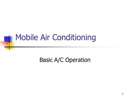 1 Mobile Air Conditioning Basic A/C Operation. 2 System Components All systems contain six major components: Compressor to circulate the refrigerant Condenser.