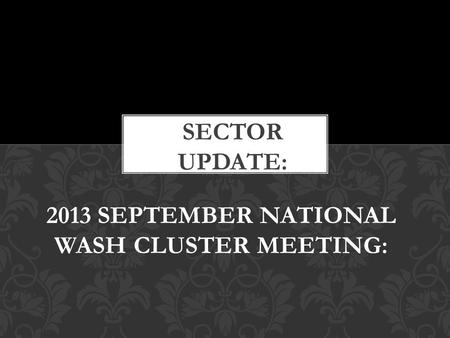 2013 SEPTEMBER NATIONAL WASH CLUSTER MEETING:. Provincial WASH Committees now able to report efficiently and effectively courtesy of support from GAA.