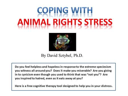 By David Sztybel, Ph.D. Do you feel helpless and hopeless in response to the extreme speciesism you witness all around you? Does it make you miserable?