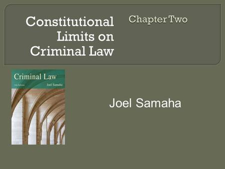 Constitutional Limits on Criminal Law Joel Samaha.