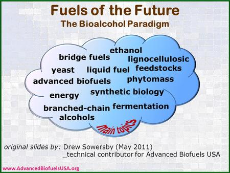 Original slides by: Drew Sowersby (May 2011) _technical contributor for Advanced Biofuels USA Fuels of the Future The Bioalcohol Paradigm CDC PHIL /James.
