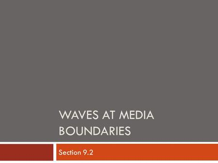 WAVES AT MEDIA BOUNDARIES Section 9.2. Key Terms  Media Boundary  Free-end Reflection  Fixed-end Reflection  Transmission  Standing Wave  Node 
