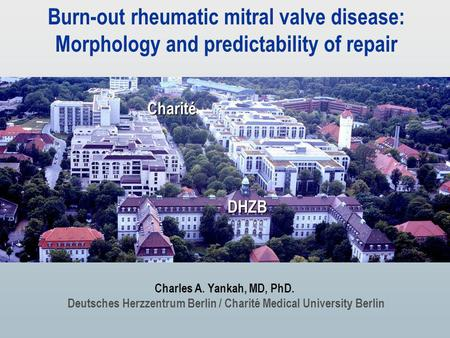 Burn-out rheumatic mitral valve disease: Morphology and predictability of repair Charles A. Yankah, MD, PhD. Deutsches Herzzentrum Berlin / Charité Medical.