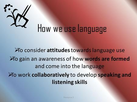 How we use language  To consider attitudes towards language use  To gain an awareness of how words are formed and come into the language  To work collaboratively.