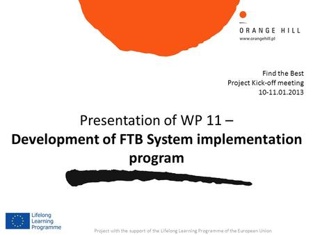 Project with the support of the Lifelong Learning Programme of the European Union Presentation of WP 11 – Development of FTB System implementation program.