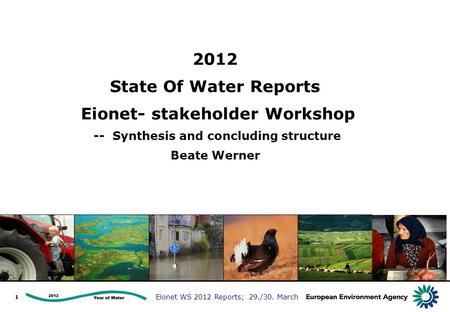 Eionet WS 2012 Reports; 29./30. March 2012 State Of Water Reports Eionet- stakeholder Workshop -- Synthesis and concluding structure Beate Werner 1.