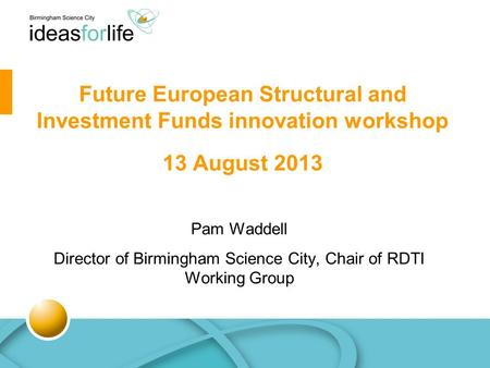 Pam Waddell Director of Birmingham Science City, Chair of RDTI Working Group Future European Structural and Investment Funds innovation workshop 13 August.