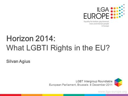Www.ilga-europe.org Horizon 2014: What LGBTI Rights in the EU? Silvan Agius LGBT Intergroup Roundtable European Parliament, Brussels 8 December 2011.