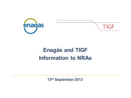 15 th September 2013 Enagás and TIGF Information to NRAs.