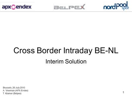 Cross Border Intraday BE-NL