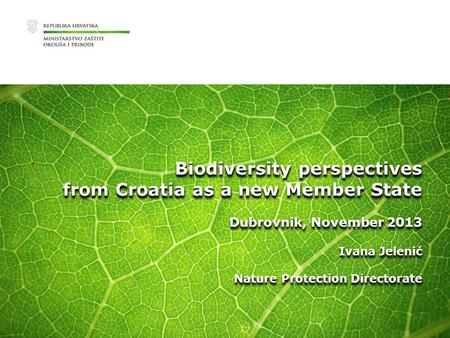 Biodiversity perspectives from Croatia as a new Member State Dubrovnik, November 2013 Ivana Jelenić Nature Protection Directorate Biodiversity perspectives.