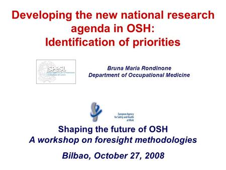 Developing the new national research agenda in OSH: Identification of priorities Shaping the future of OSH A workshop on foresight methodologies Bilbao,