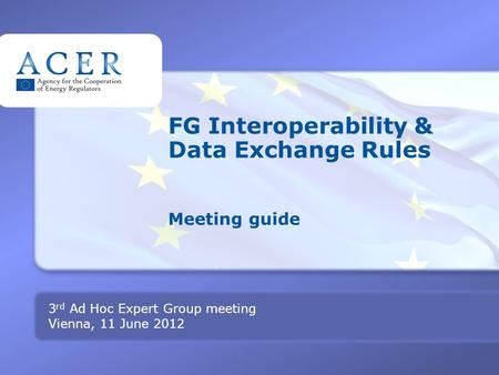 TITRE FG Interoperability & Data Exchange Rules Meeting guide 3 rd Ad Hoc Expert Group meeting Vienna, 11 June 2012.
