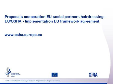 Proposals cooperation EU social partners hairdressing – EU/OSHA - Implementation EU framework agreement www.osha.europa.eu.