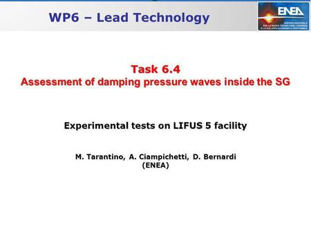 WP4 – Multi-phase flow THINS, Technical meeting - Bologna, 2/9/2010 Task 6.4 Assessment of damping pressure waves inside the SG WP6 – Lead Technology Experimental.