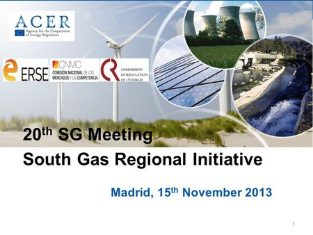 1 Madrid, 15 th November 2013 20 th SG Meeting South Gas Regional Initiative.